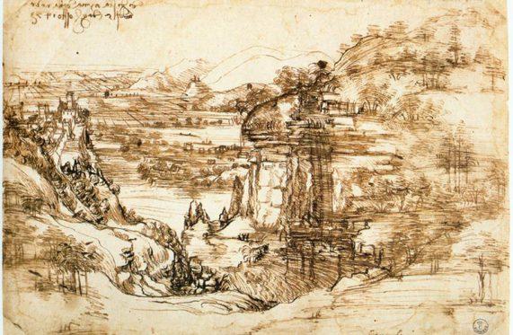 Paesaggio con fiume Leonardo da Vinci